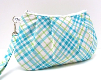 Clutch Purse, Pleated Wristlet, Blue Green White Plaid Checks