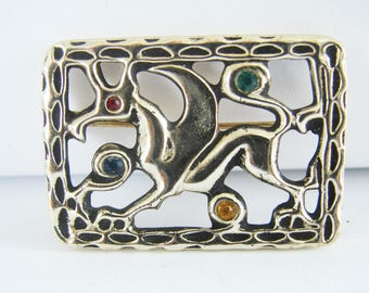 Vintage silver crest brooch with griffin detail- blue, green, red and yellow rhinestones (I1)