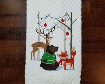 Winter Woodland Party Embroidered Towel - Made to Order