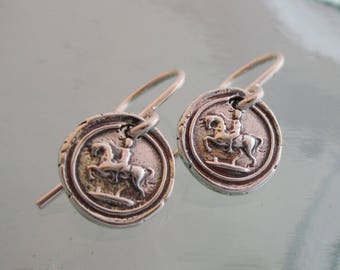 Handcrafted Vintage Wax Seal Horseman Earrings in Silver or Bronze