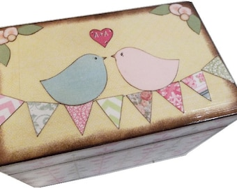 Recipe Box, Decoupaged,  Love Birds Box, Large Handcrafted  Box, Holds 4x6 Cards  Storage organozation MADE To ORDER