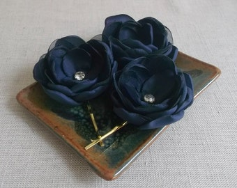 Navy Blue fabric flowers, Bridal hair clips with crystals, Bridesmaids accessories, Dress sash brooch flower, Wedding ornaments, girls gift