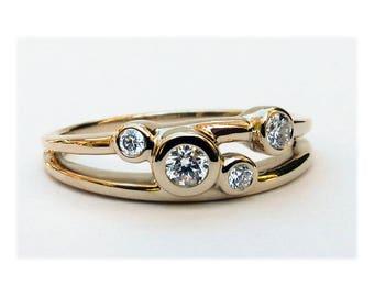 Diamond Wedding Ring, 14k Gold Diamond Ring, Diamond 14k Gold 4 Stone Ring, 4 Stone Mothers Ring