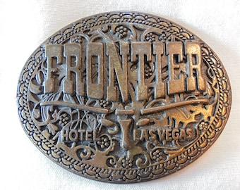 Vintage Frontier Hotel Las Vegas Brass Belt Buckle Retro Collectors Souvenir Boho Oval
