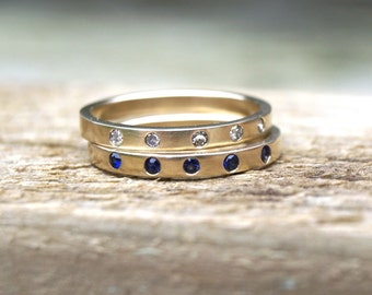 Diamond gold band, flush set diamond gold band , sapphire gold band