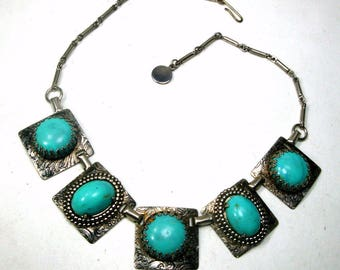 Turquoise Silver Tribal Link Necklace, USED, Metal and Glass Southwest Style Western Chain Necklace,  1960s