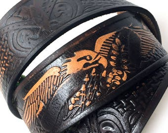 Eagle Tooled Leather Dog Collar, Custom Size To Fit Your Dog, Eco-Friendly Recycled Belt Leather Collar, Seattle Handmade, OOAK