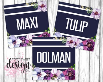 Agnes and Dora Clothing Style Name Cards, 5x5 Name Tags Online Shop Facebook Album Covers, Style Card Navy Purple Floral, INSTANT DOWNLOAD