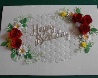 Handmade Personalised Birthday/Anniversary Card Quilled Red Roses