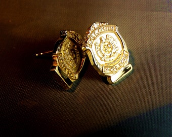St Louis Police 14k yellow gold stud earrings