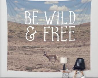 Modern Wall Tapestry, Inspirational Tapestry, Kids Room Decor, Wildlife Decor, Photo Tapestry, Utah Nature Decor, Antelope, Pronghorn Art