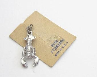 Sterling Lobster Charm Pendant Silver Vintage New On Original Card
