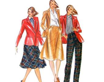 80s Jacket Skirt Pants Pattern Butterick 3381 Blazer Trousers Womens Bust 36 Vintage Sewing Pattern