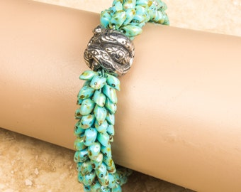 KUMIHIMO BRACELET Snake Focal Turquoise Color Gift for Her Birthday Anniversary Mother's Day Handmade Year of the Snake Long Magatama Beads