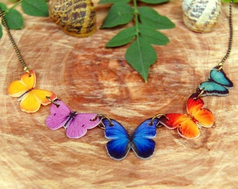 Butterfly Necklace, Butterfly Jewelry, Gifts for her, Insect Jewelry, Natural Jewelry, Colourfull Butterfly Necklace, Bug, Plastic, Insect