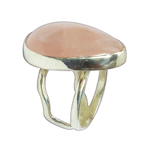 Rose Quartz Ring Set in Sterling Silver, Size 7-1/2  r75rqg2850