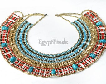 Large Egyptian Beaded Cleopatra Necklace Collar With 9 Scarabs