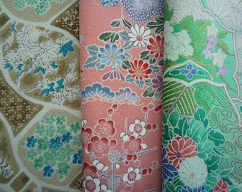 Japanese Silk Kimono Remnants for Craft Project, Vintage Asian Fabric, Green Pink Brown Mix, Set of 3