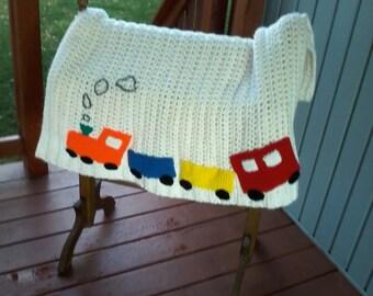 Crochet baby afghan Train baby blanket Crib blanket Baby blanket Train baby afghan Train crib blanket Baby boy afghan Primary colors