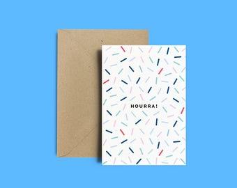 "Gift postcard, Memphis pattern, papergoods, postcard + Kraft envelope - ""Hourra !"", stationery"