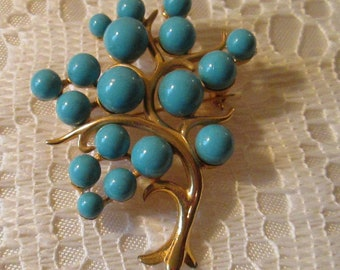 Vintage Blue Tree Brooch