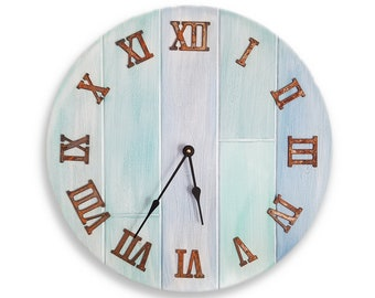 Large wall clock beach wall clock beach decor whitewashed wall clock vintage style wall clock shabby clock 20 inch clock CL5040