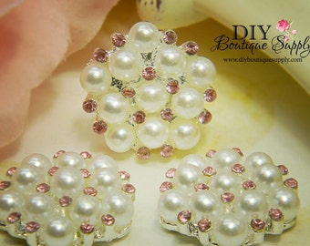 Rhinestone & Pearl buttons PINK Flatback Embellishments - Bridal Supplies flower centers Headbands crystal bouquet  5 pcs 23mm 194047