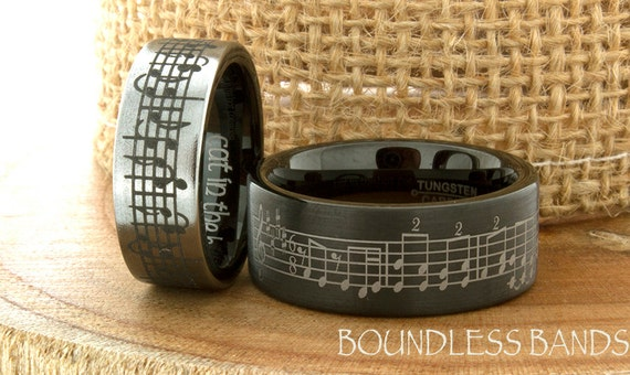 Music Wedding Ring Tungsten Wedding Band Your Wedding Song