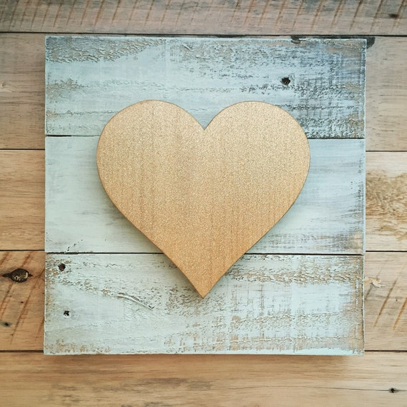 Wooden Heart Sign in Mint Green and Gold Glitter | Valentines Sign Decor