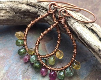 Watermelon Tourmaline Gemstone Earring Wire Wrapped Antique Copper, Hoops, Free Shipping, Ready to Ship