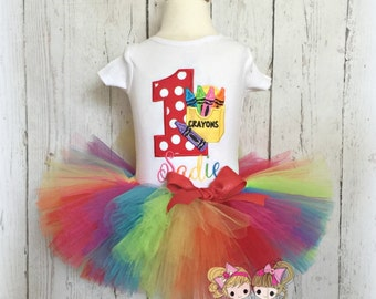 Crayon Birthday Outfit - First Birthday Outfit- Crayon Tutu outfit - Rainbow tutu - Rainbow crayon outfit - custom embroidered shirt