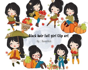 Black hair Fall girl clipart instant download PNG file - 300 dpi