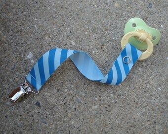 Ribbon Pacifier Clip-Blue Stripes