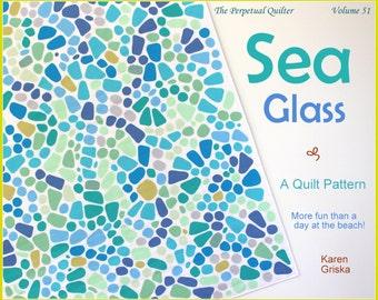 Sea Glass Quilt Pattern, Fusible Applique Quilt Pattern, Art Quilt, Wall Quilt, Beach Quilt, Ocean Quilt