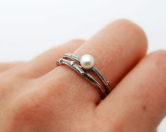 Twig and pearl stack ring set - sterling silver willow branch ring