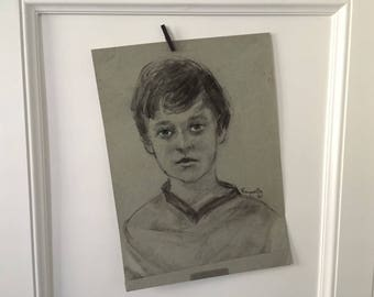 Vintage Portrait, Portrait Drawing Vintage, Oil Pastel Portrait, Portrait of Boy, Portrait Drawing, Vintage Original Drawing, 1980's Art