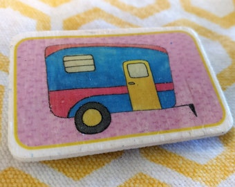 Wooden Retro Blue Camper Pin