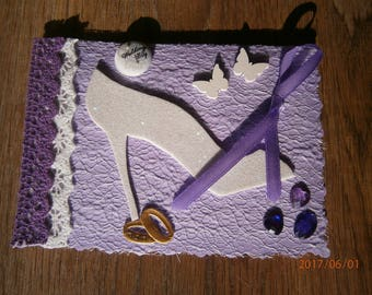 """Card congratulations on purple """"Tie and shoes"""", wedding"""