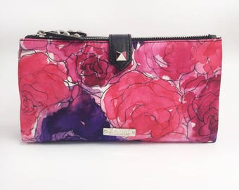Pink Roses Double Zip Pouch