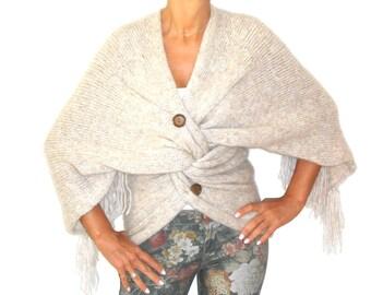 SWEATER for Women Beige Knit Drape Twisted Knot Sophisticated Fringe Tasseled