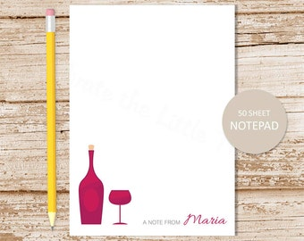 wine personalized notepad . wine connoisseur notepad . wine lover note pad . personalized stationery . wine stationary