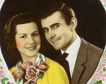 SALE 50s French postcard, Couple in heart, RPPC, real photo postcard, paper ephemera. Price reduced.
