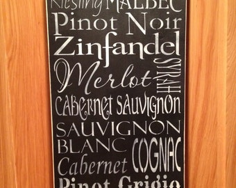 Wine Sign~CHARDONNAY Reisling Pinot Noir ~ Hand Painted Wood Sign~Wine~Typography~Home Decor