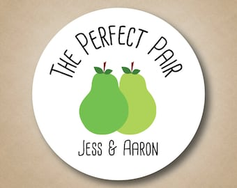The Perfect Pear Favor Stickers Perfect Pair Wedding Favor Labels Bridal Shower Stickers Pear Label Bridal Shower Ideas Mason Jar Labels
