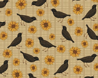 Benartex  / Cheryl Haynes / 02773 70 / Fabric / Quilting / Sunflower & Crows / Tan