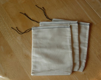 25 4x6 Cotton Muslin Drawstring Bags Black Hem and Drawstring