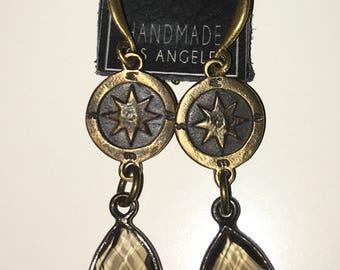 KBD Bronze Rose Star Compass Smokey Quartz earrings