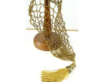 Vintage 1920s/20s Art Deco Metallic Thread Tassel SNOOD Flapper Antique