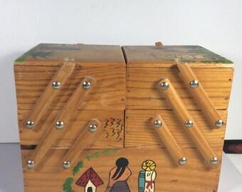 Boîte de bijou fait à la main à la main douloureuse bijoux à charnière extensible en bois