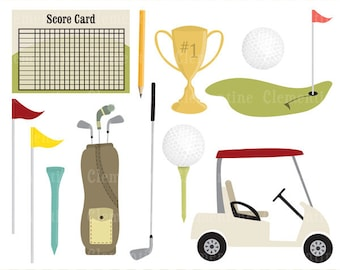 Golf clip art images,  golf clipart, trophy clip art, royalty free clip art- Instant Download